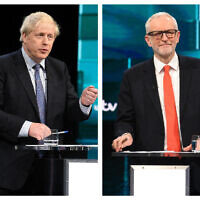 ITV pic of Jeremy Corbyn and Boris Johnson during the Election head-to-head debate (Photo credit should read: ITV/PA Wire)