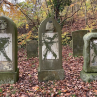 Vandalised headstones at Jewish cemetery in Randers, Denmark