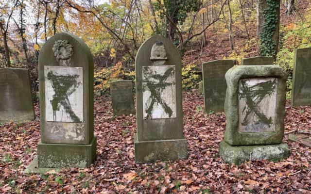 Vandalised headstones at Jewish cemetery in Randers, Denmark