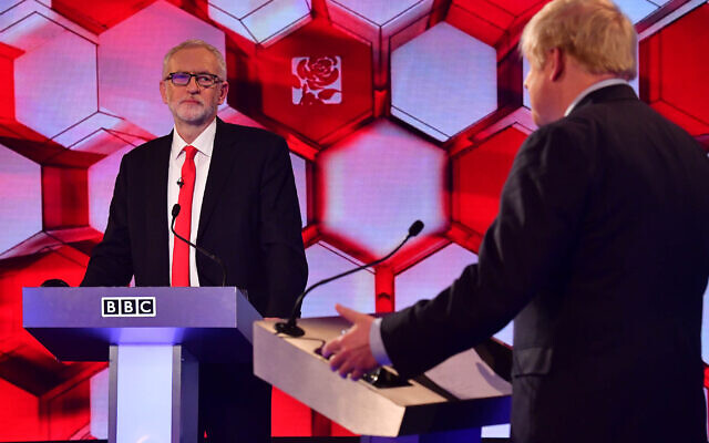 Prime Minister Boris Johnson (right) and Labour leader Jeremy Corbyn going head to head in the BBC Election Debate in Maidstone, (Photo credit: Jeff Overs/BBC/PA Wire)