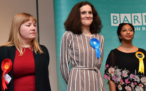 Theresa Villers after she was re-elected as MP for Chipping Barnet at Allainz Park, London in the 2019 General Election. (Photo credit: Jacob King/PA Wire)