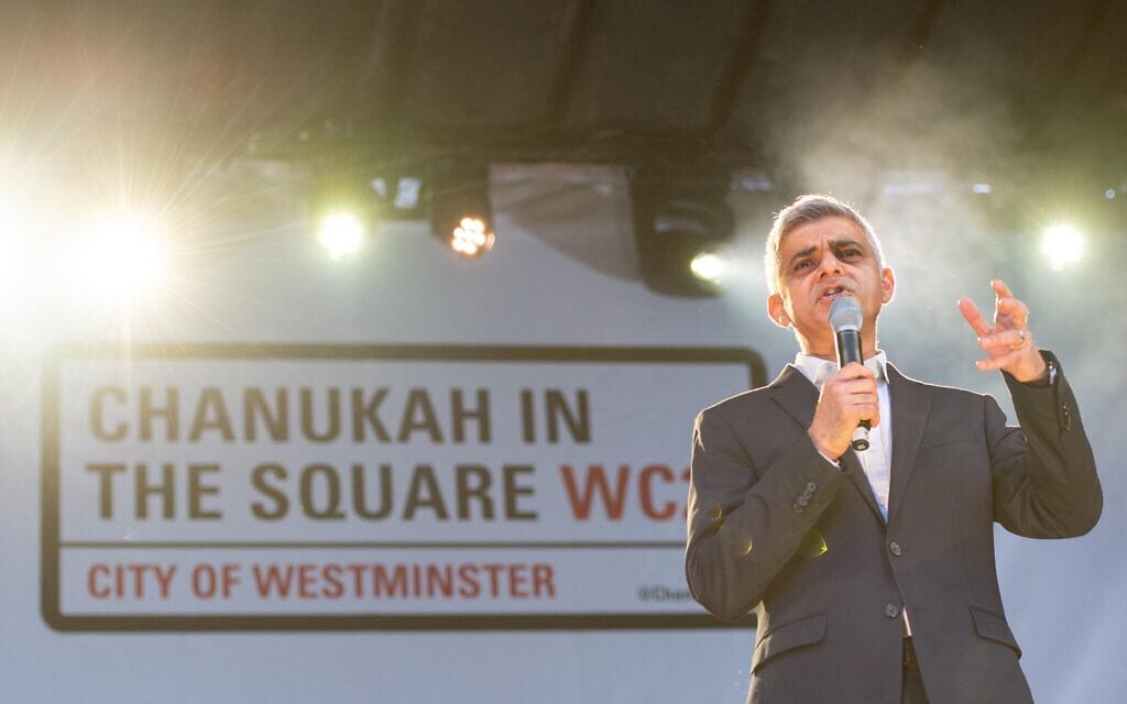Mayor of London Sadiq Khan speaking during the annual Menorah Lighting Ceremony on Trafalgar Square in London to mark Chanukah. (Photo credit: Dominic Lipinski/PA Wire)