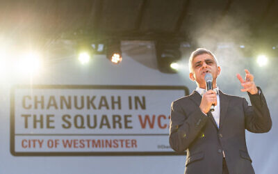 Mayor of London Sadiq Khan speaking during the annual Menorah Lighting Ceremony on Trafalgar Square in London to mark Chanukah. (Photo credit: Dominic Lipinski/PA Wire)