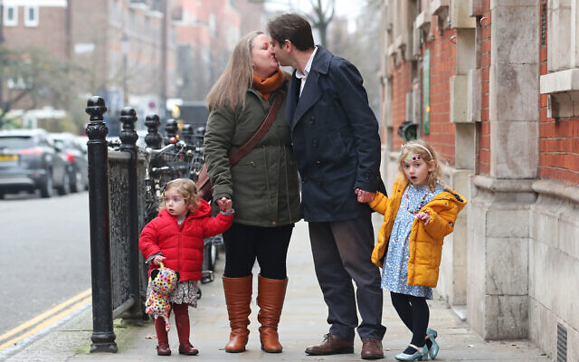 Rebecca Steinfeld and Charles Keidan, with their children Ariel and Eden, arrive at Kensington and Chelsea Register Office (Photo credit: Yui Mok/PA Wire)