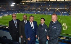 L-R: Bruce Buck, Chelsea Chairman, Armed Forces Chaplain Rabbi Reuben Livingstone, Lord John Mann, and two representatives from the RAF Museum