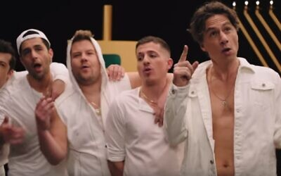 Late, Late Show host James Corden teams up with Jewish celebrities Zach Braff and Charlie Puth for a fun Chanukah spoof music video