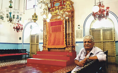 Elias Josephai at the Kochi synagogue in Kerala which he runs all alone