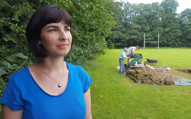 Dr Caroline Sturdy-Colls in front of dig site for child holocaust survivors, Windermere  (Credit:  Rare TV,  Digging for Britain)