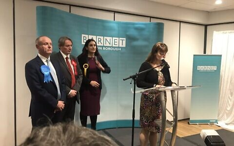 Luciana Berger, Ross Houston and Mike Freer at the Finchley and Golders Green count
