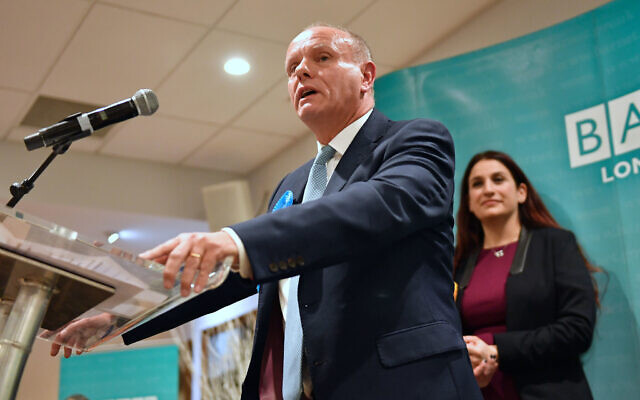 Conservative candidate Mike Freer speaks after winning the Finchley and Golders Green constituency in north London for the 2019 General Election. (Photo credit: Jacob King/PA Wire)