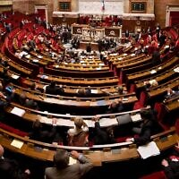 The debating chamber of the French National Assembly in Paris
