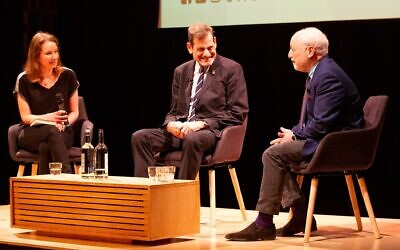 From left: lecturer and facilitator Julia Wagner in conversation with filmmaker Howard Rosenman and novelist Andre Aciman at JW3 in London