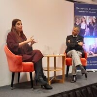 Lib Dem candidate Luciana Berger with LBC presenter Maajid Nawaz at Brampton College in Hendon