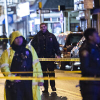 Police cordon off a street near the scene of a shooting in Jersey City of New Jersey, the United States, Dec. 10, 2019.  (Xinhua/Wang Ying)