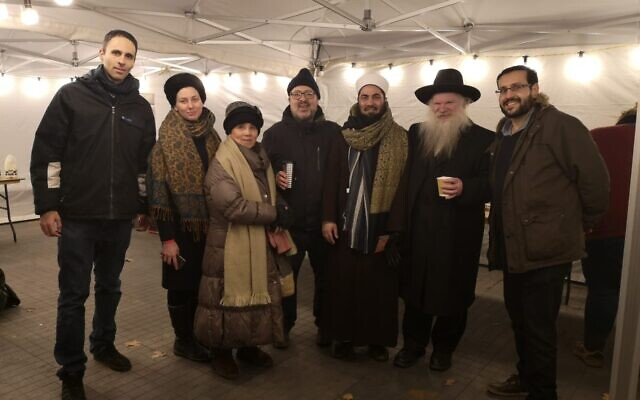 L-R: Zaki Cooper, Harriet Morris Sloane,  Veronica Wetten - London Fo Guang Shan Temple, Rabbi David Mason - Muswell Hill Synagogue and executive member, Rabbinical Council of the United Synagogue, M Yazdani Raza Misbahi – runs a charity called the London Fatwa Council, Rabbi Herschel Gluck - Director, Ohr Avrohom – Light of Abraham and Mustafa Field - Director, Faiths Forum for London