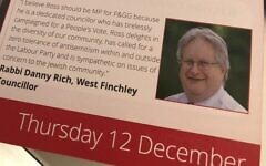 Rabbi Danny Rich appears on Labour leaflet (credit: Sandy Rashty / Twitter)