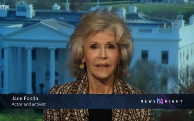 Jane Fonda appearing on BBC Two's Newsnight programme (Credit: BBC iPlayer)