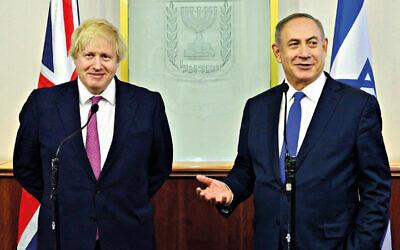 UK PM Boris Johnson with Israeli counterpart Benjamin Netanyahu