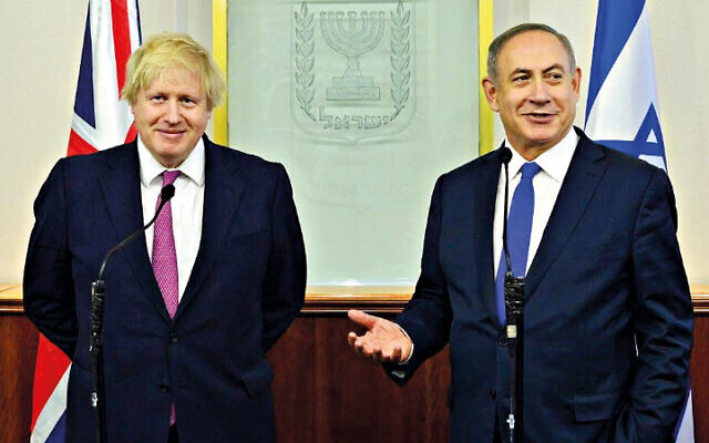 UK PM Boris Johnson with Israeli counterpart Benjamin Netanyahu