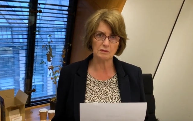 Louise Ellman appearing in the 2019 documentary Forced Out and Whitewashed by Judith Ornstein, which tells the stories of people who had to leave the Labour Party because of antisemitism.