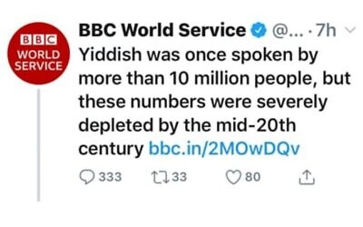 Screenshot of the deleted tweet sent by the BBC World Service last week