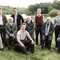 Survivors with actors who portrayed them during the Windermere Children BBC drama. Pictured from left to right, Chaim 'Harry' Olmer, Kacper Swietek, Arek Hersh MBE, Tomasz Studzinski, Pascal Fischer, Sir Ben Helfgott, Marek Wrobelewski, Sam Laskier, Kuba Sprenger, Ike Alterman (Credit: Wall to Wall/ZDF / Helen Sloan)