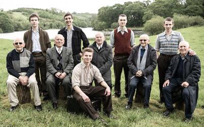 From left: Harry Olmer, Kacper Swietek, Arek Hersh, Tomasz Studzinski, Pascal Fischer, Sir Ben Helfgott, Marek Wrobelewski, Sam Laskier, Kuba Sprenger, Ike Alterman
