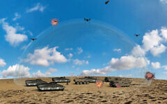 Computer-generated images of a laser-based air defence system being developed by the Israeli Defense Ministry