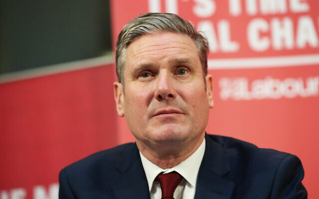 Labour leader Keir Starmer, pictured, met representatives from the Jewish Labour Movement (JLM) on Monday. The gathering was the first formal meeting between a Labour leader and the Jewish Labour Movement (JLM) since 2014.  (Photo credit: Jonathan Brady/PA Wire)