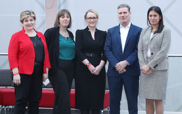 (left to right) Emily Thornberry, Jess Phillips, Rebecca Long-Bailey, Keir Starmer and Lisa Nandy before the Labour leadership husting at the ACC Liverpool. Phillips has since dropped out of the race. (Photo credit should read: Danny Lawson/PA Wire)