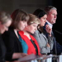 (left to right) Rebecca Long-Bailey, Jess Phillips, Emily Thornberry, Lisa Nandy and Keir Starmer during the Labour leadership husting at the ACC Liverpool. (Photo credit: Danny Lawson/PA Wire)