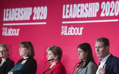 Labour leadership hopefuls at a hustings in January - left to right: Rebecca Long-Bailey, Jess Phillips, (who has since pulled out of the contest), Emily Thornberry, Lisa Nandy and Keir Starmer.. Photo credit : Danny Lawson/PA Wire via Jewish News