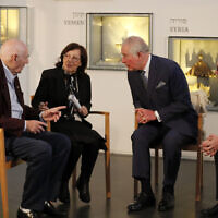 The Prince of Wales meets George Shefi and Marta Wise (left) at a reception for British Holocaust survivors at the Israel Museum in Jerusalem on the first day of his visit to Israel and the occupied Palestinian territories. (Photo credit: Frank Augstein/PA Wire)