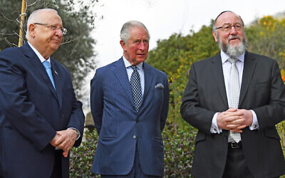 The Prince of Wales with Chief Rabbi Ephraim Mirvis (right) after a meeting with President Reuven Rivlin (left) at his official residence in Jerusalem on the first day of his visit to Israel and the occupied Palestinian territories.. Photo credit: Victoria Jones/PA Wire