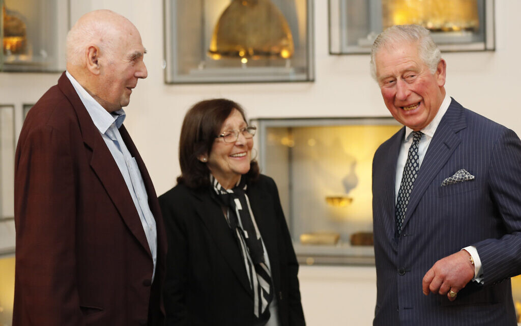 The Prince of Wales (right) meets George Shefi and Marta Wise at a reception for British Holocaust survivors at the Israel Museum in Jerusalem on the first day of his visit to Israel and the occupied Palestinian territories. PA Photo. Picture date: Thursday January 23, 2020. Photo credit: Frank Augstein/PA Wire