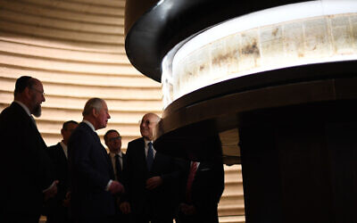 The Prince of Wales and Chief Rabbi Ephraim Mirvis (left) during a visit to the Shrine of the Book at the Israel Museum in Jerusalem (Photo credit: Victoria Jones/PA Wire)