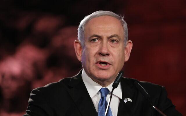Israeli Prime Minister Benjamin Netanyahu speaks during the Fifth World Holocaust Forum at the Yad Vashem Holocaust memorial museum in Jerusalem, Israel,    (Abir Sultan, Pool via AP)