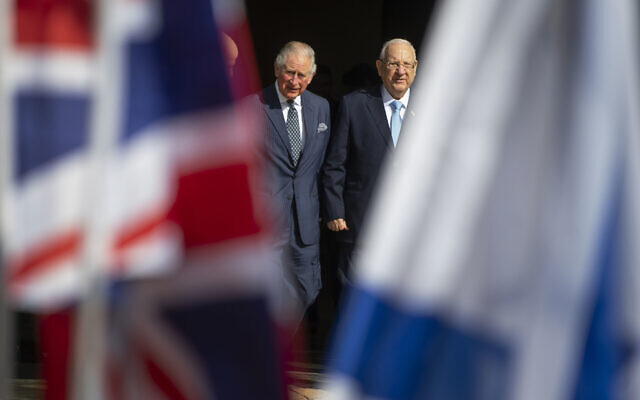 The Prince of Wales with President Reuven Rivlin (right) at his official residence in Jerusalem on the first day of his visit to Israel and the occupied Palestinian territories. PA Photo. Picture date: Thursday January 23, 2020. See PA story ROYAL Charles. Photo credit should read: Victoria Jones/PA Wire