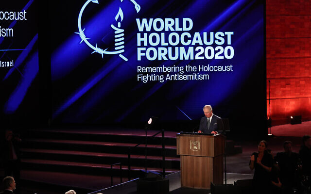 The Prince of Wales speaking at the World Holocaust Forum at Yad Vashem, (Photo credit: Oded Karni/Government Press Office/PA Wire)