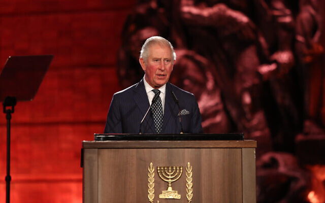 Prince of Wales speaking at the World Holocaust Forum at Yad Vashem, the World Holocaust Remembrance Centre in Jerusalem   (Photo credit: Oded Karni/Government Press Office/PA Wire)