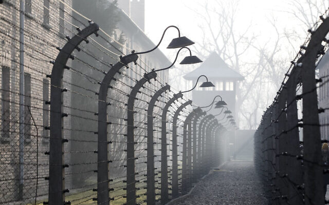 People arrive for commemorations at the Auschwitz Nazi death camp in Oswiecim, Poland,  (AP Photo/Czarek Sokolowski)