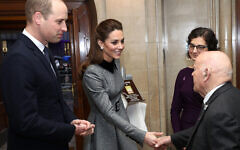 The Duke and Duchess of Cambridge meeting Sir Ben Helfgott during the UK Holocaust Memorial Day Commemorative Ceremony at Central Hall in Westminster, London. (Photo credit: Chris Jackson/PA Wire)