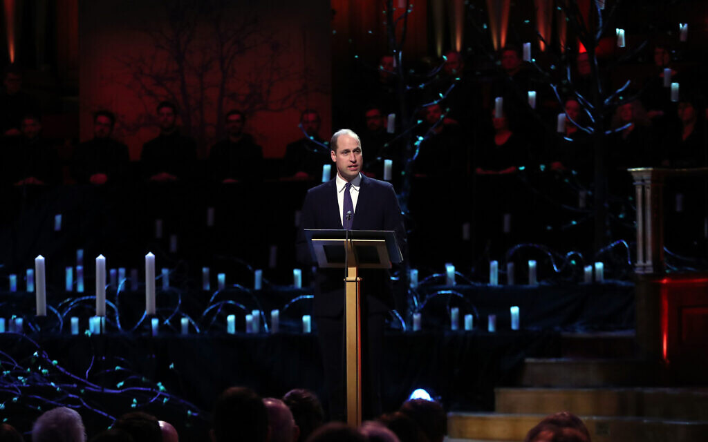 The Duke of Cambridge speaking during the UK Holocaust Memorial Day Commemorative Ceremony at Central Hall in Westminster, London. (Photo credit: Chris Jackson/PA Wire)
