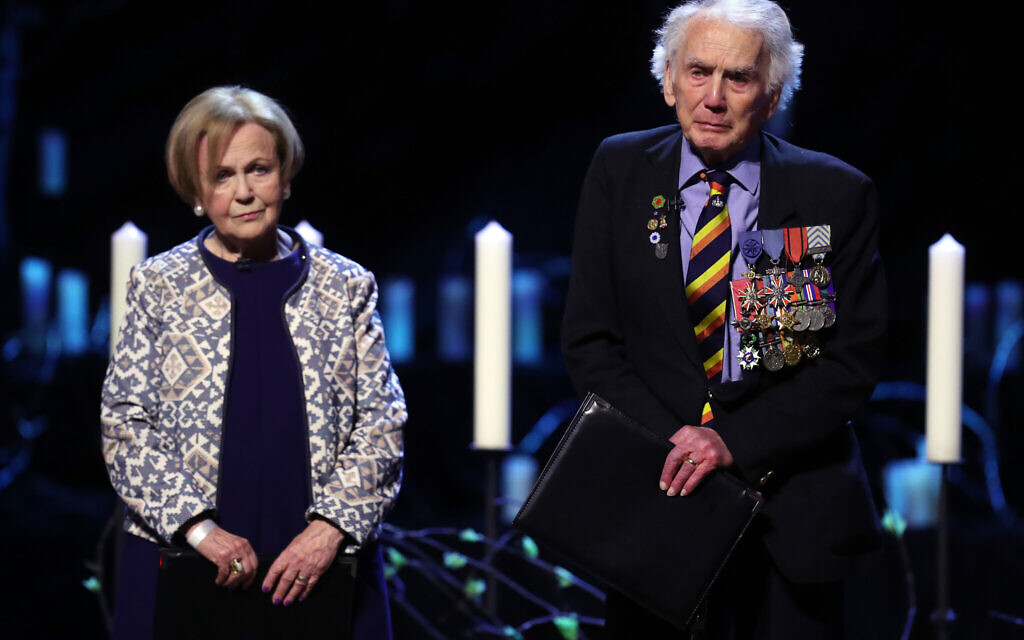 Mala Tribich MBE, Bergen-Belsen survivor and Ian Forsyth MBE speaking during the UK Holocaust Memorial Day Commemorative Ceremony at Central Hall in Westminster, London. PA Photo. . (Photo credit: Chris Jackson/PA Wire)
