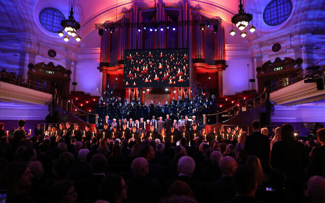 Sleep by Eric Whitacre, performed by the Fourth Choir and the Wallace Ensemble  during the UK Holocaust Memorial Day Commemorative Ceremony at Central Hall in Westminster, London. PA Photo.  (Photo credit: Chris Jackson/PA Wire)