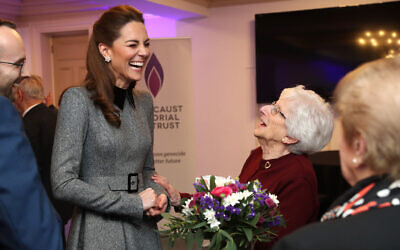 The Duchess of Cambridge shares a joke with Holocaust survivor Yvonne Bernstein after the UK Holocaust Memorial Day Commemorative Ceremony at Central Hall in Westminster, London. (Photo credit: Chris Jackson/PA Wire)