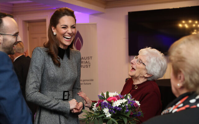 The Duchess of Cambridge shares a joke with Holocaust survivor Yvonne Bernstein after the UK Holocaust Memorial Day Commemorative Ceremony at Central Hall in Westminster, London (Photo credit: Chris Jackson/PA Wire)