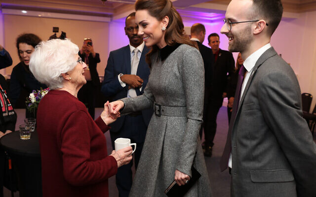 The Duchess of Cambridge speaks with Holocaust survivor Yvonne Bernstein after the UK Holocaust Memorial Day Commemorative Ceremony at Central Hall in Westminster, London.  . (Photo credit: Chris Jackson/PA Wire)