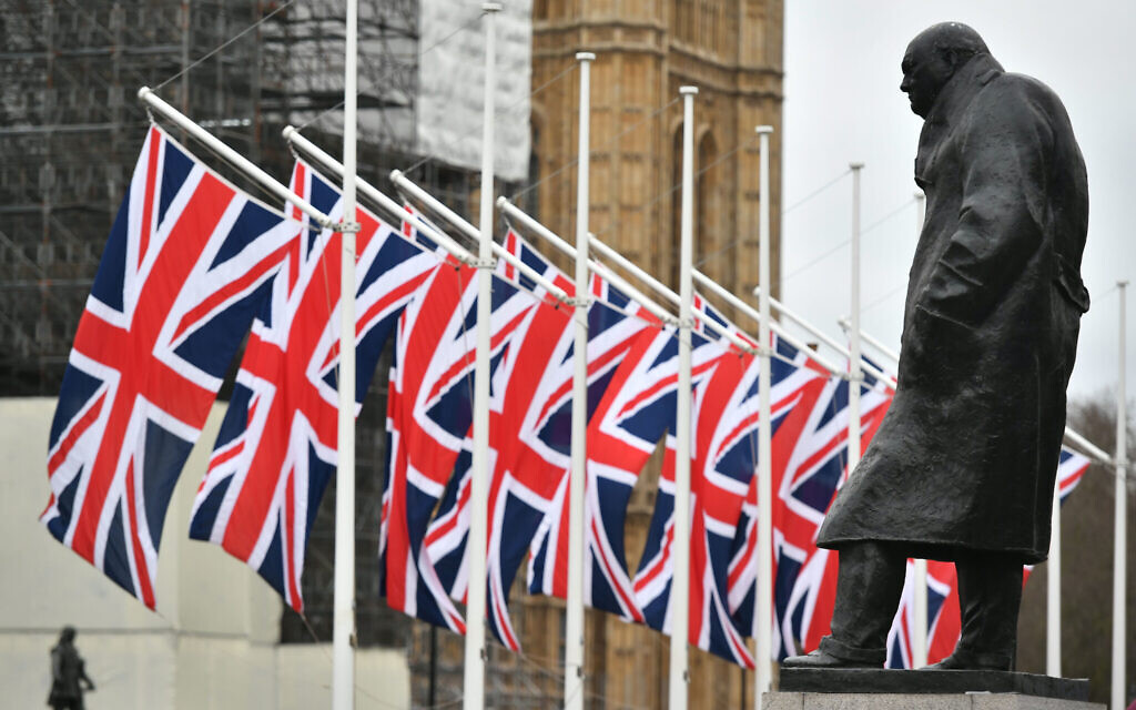 The Winston Churchill statue and Union flags in Parliament Square, London, ahead of the UK leaving the European Union at 11pm on Friday. (Photo credit: Dominic Lipinski/PA Wire)
