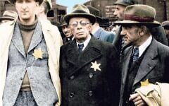 Auswitchz: Untold in Colour: Jewish men wearing yellow Star of David badges arrive at  Auschwitz